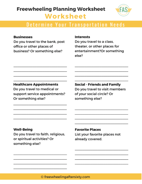 Freewheeling Planning Worksheet